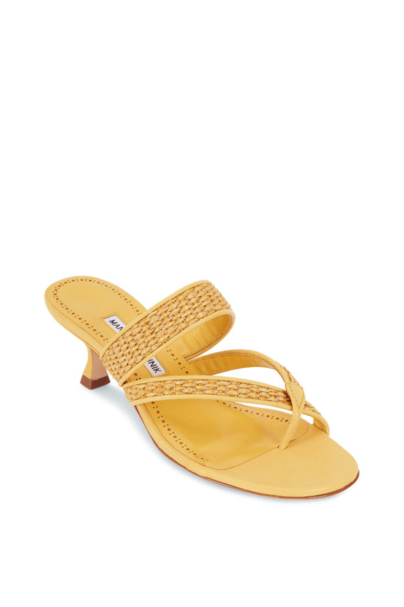 Manolo Blahnik Susa Yellow Raffia Sandal, 50mm