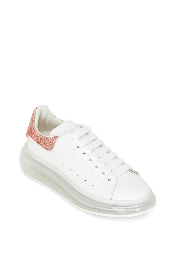 Alexander McQueen White Leather & Glitter Exaggerated Sole Sneaker