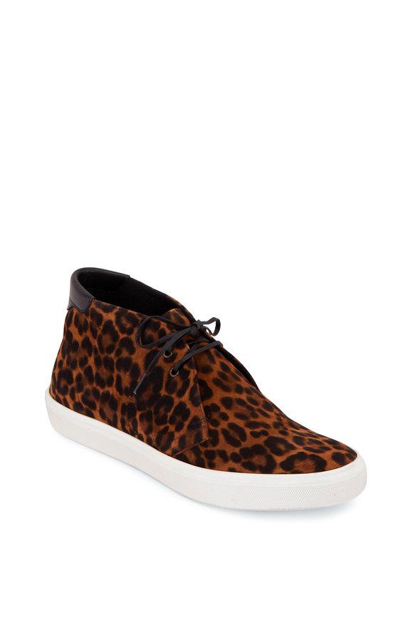 Saint Laurent Leopard Suede Mid Top Sneaker