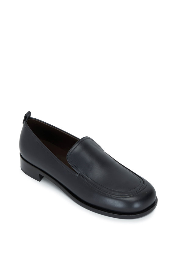 The Row Black Leather Penny Loafer