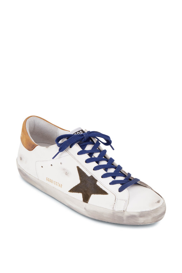 Golden Goose Super-Star White Leather & Green Star Sneaker