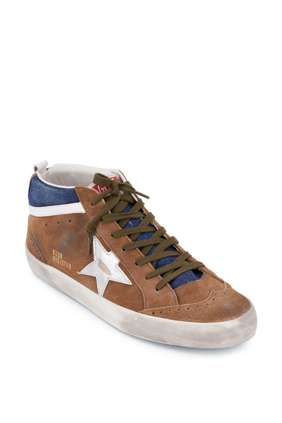 Golden Goose Mid Star Brown Suede & Silver Star Sneaker