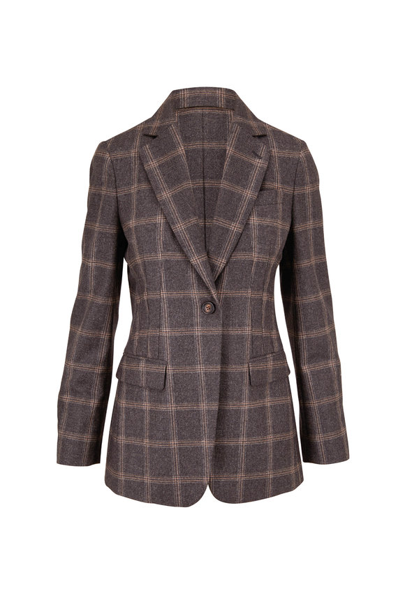 Brunello Cucinelli Grey & Tan Wool Bold Plaid Single-Button Jacket