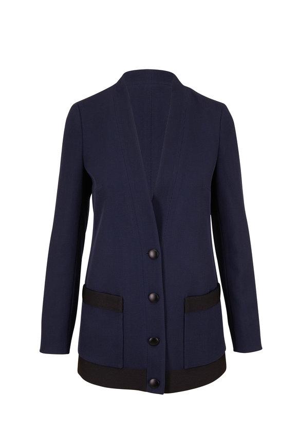 Akris Punto Denim Blue Wool Cardigan Blazer