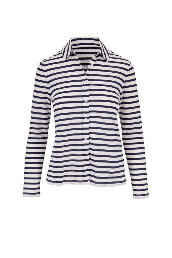 Majestic Marine & White Stripe Stretch Linen Button Down