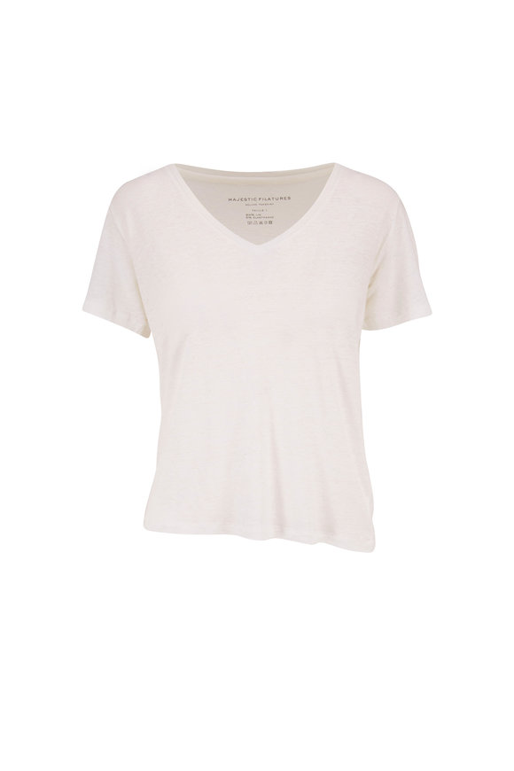 Majestic Blanc Stretch Linen Relaxed Fit V-Neck T-Shirt