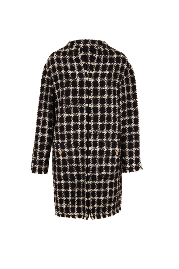 Valentino Black & Ivory Stretch Wool Tweed Topper