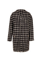 Valentino - Black & Ivory Stretch Wool Tweed Topper