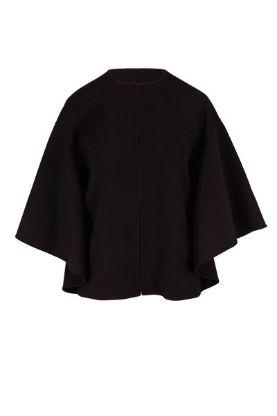 Valentino - Black Short Compact Wool & Cashmere Cape
