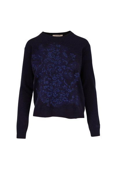 Valentino - Navy Floral Embroidered Crew Sweater