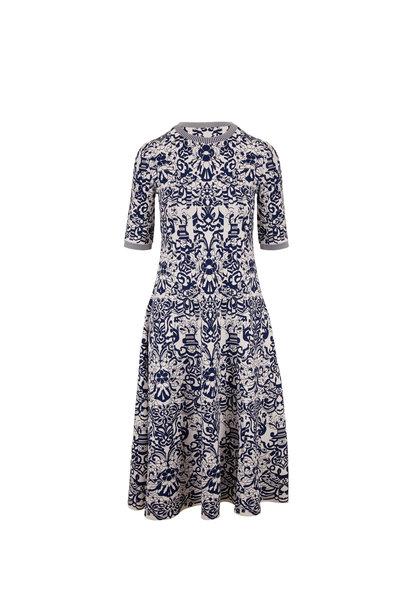 Valentino - Ivory & Navy Printed Short Sleeve Knit Dress