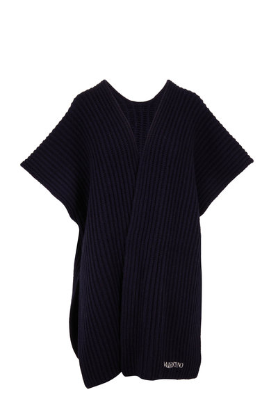Valentino - Black Wool & Cashmere Open Front Oversize Poncho