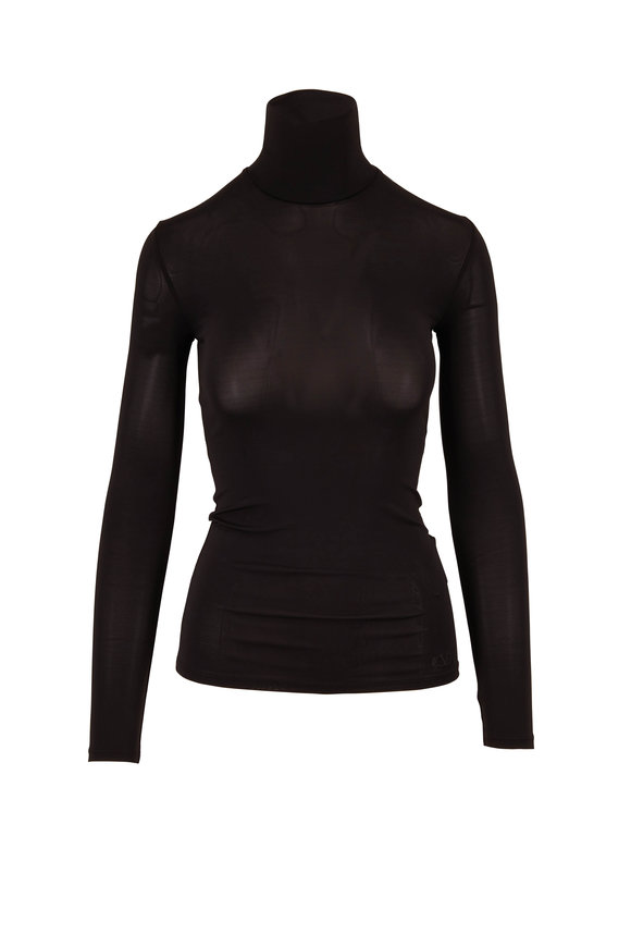 Valentino Black Jersey Fitted Turtleneck