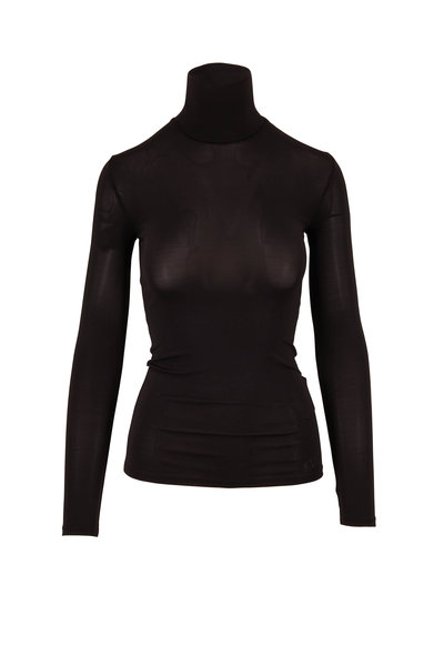 Valentino - Black Jersey Fitted Turtleneck