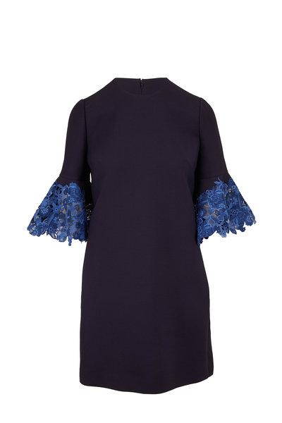 Valentino - Navy Blue Wool & Silk Lace Cuff Dress