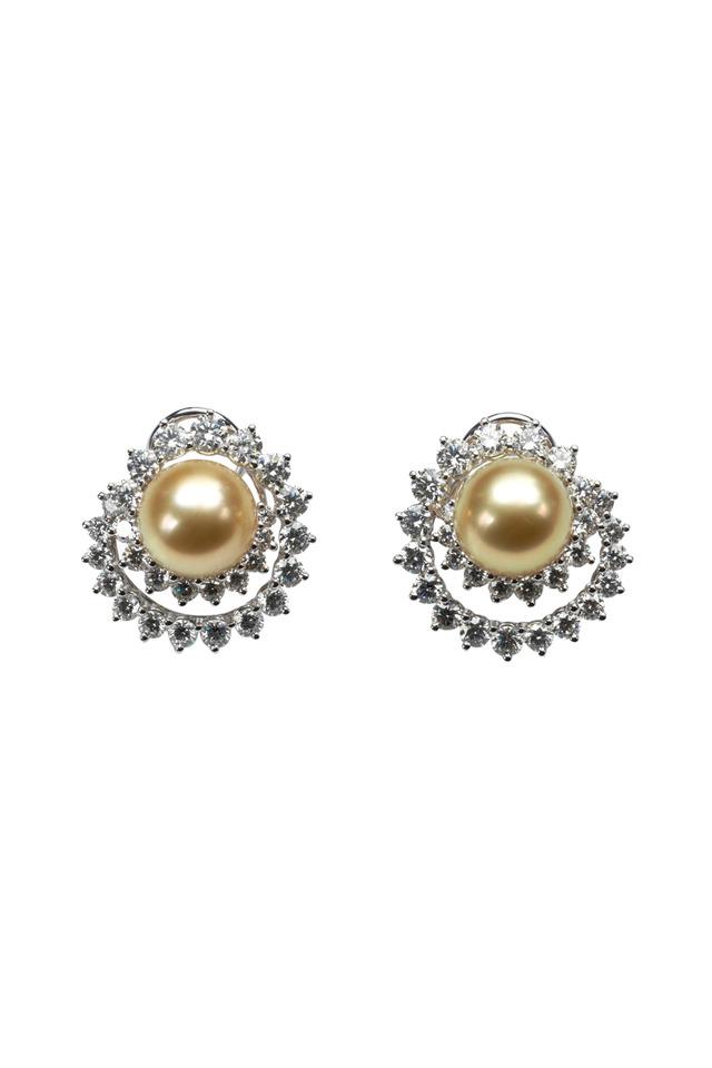 Angela Cummings Swirl Diamond Pearl Earrings