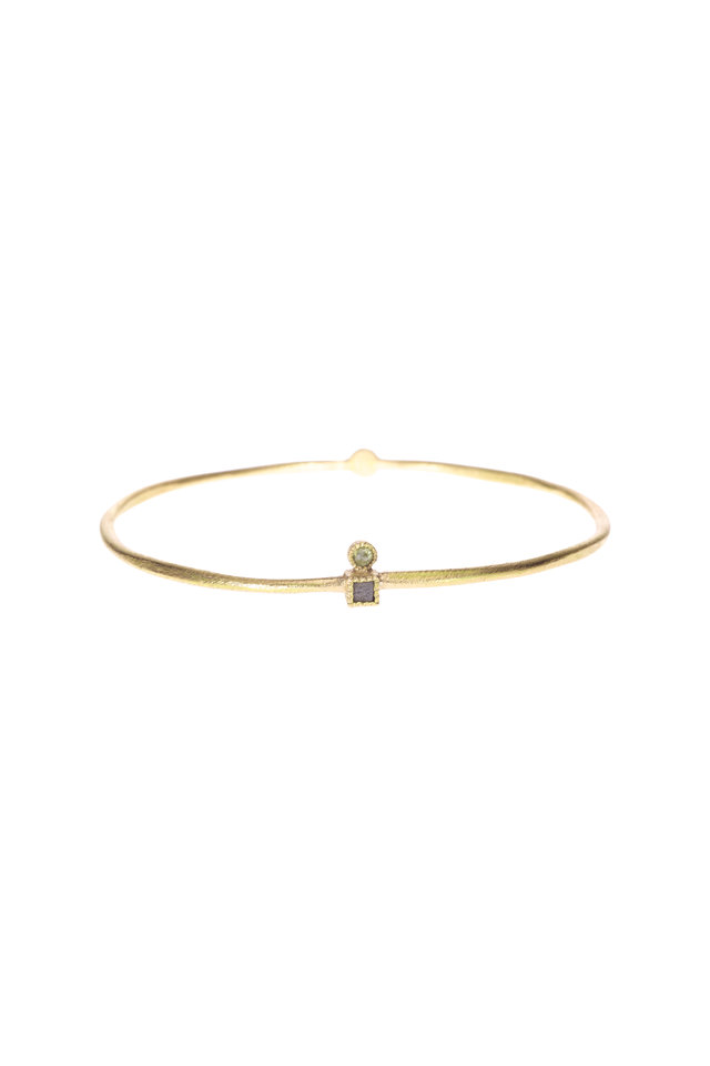 Yellow Gold Raw Diamond Bangle