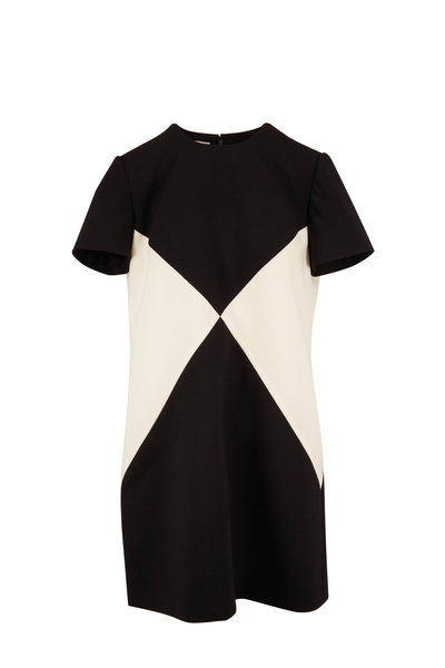 Valentino - Black & White Diamond Print Shift Dress