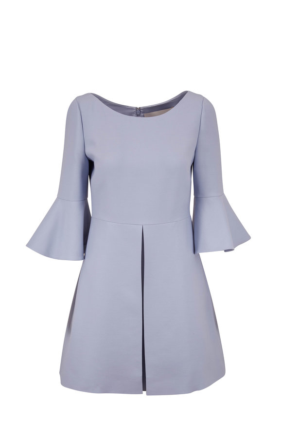 Valentino Blue Wool & Silk Bell Sleeve Dress