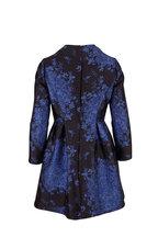 Valentino - Black & Blue Brocade Floral Long Sleeve dress