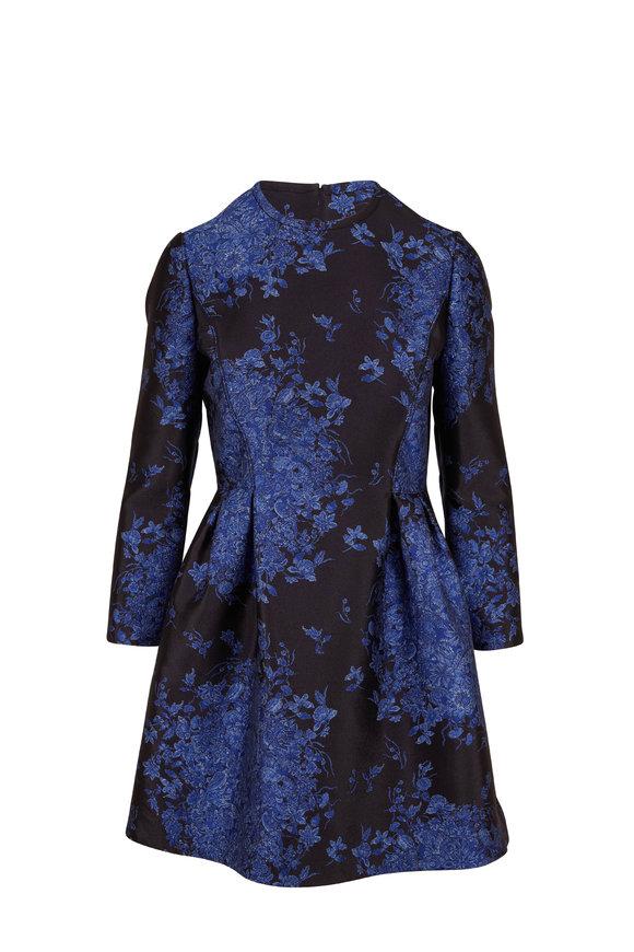 Valentino Black & Blue Brocade Floral Long Sleeve dress