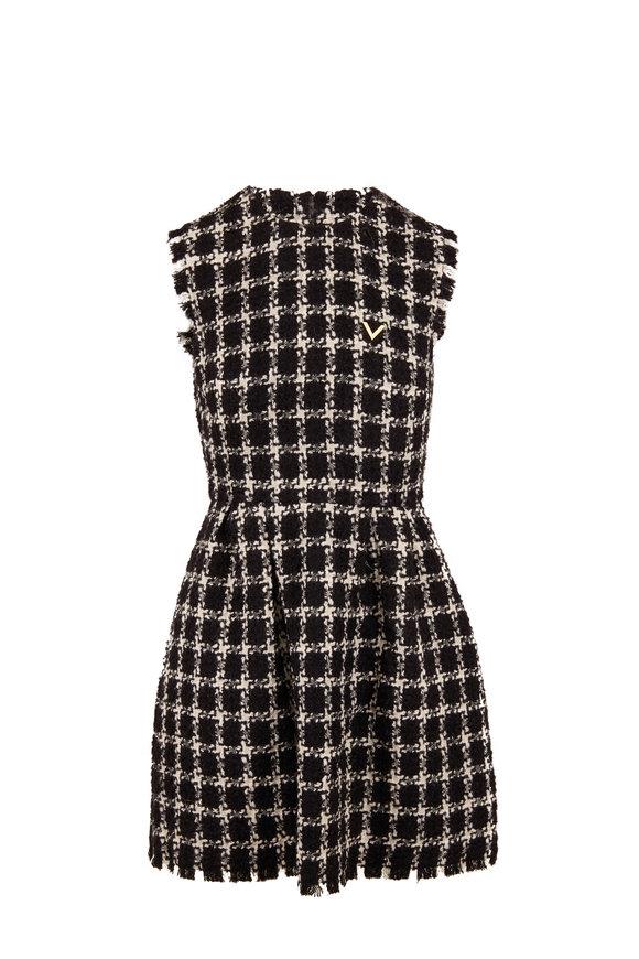 Valentino Black & Ivory Stretch Wool Tweed Sleeveless Dress