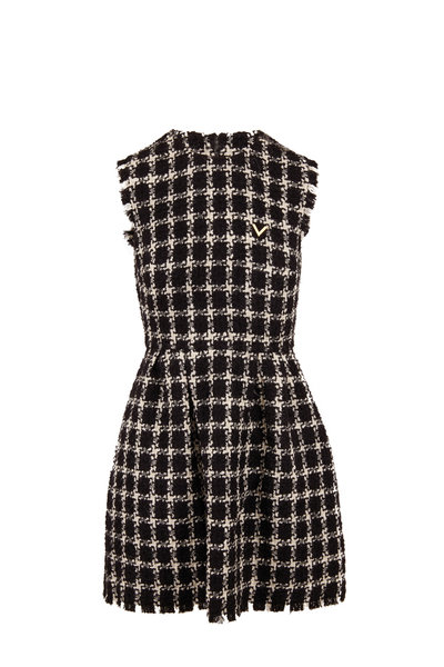 Valentino - Black & Ivory Stretch Wool Tweed Sleeveless Dress