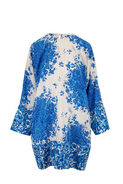 Valentino - Blue & Ivory Crepe De Chine Printed Tunic Dress