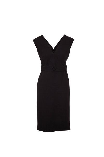 Valentino - Black Waist Logo Sleeveless Dress