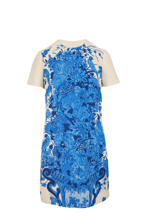 Valentino Blue Floral Bouquet Short Sleeve Dress