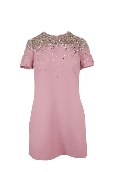 Valentino - Rose Wool & Silk Embroidered Short Sleeve Dress