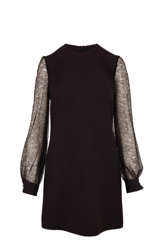 Valentino Black Wool & Silk Long Lace Sleeve Dress