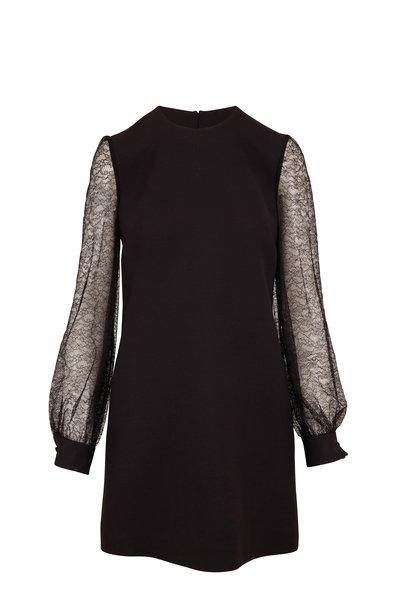 Valentino - Black Wool & Silk Long Lace Sleeve Dress