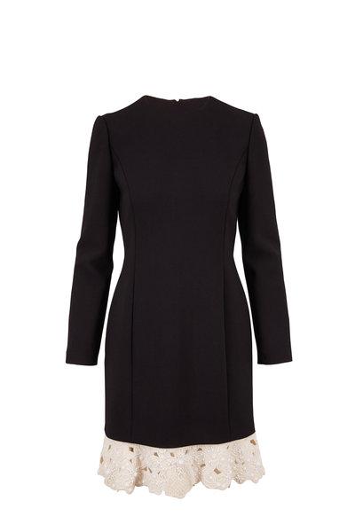 Valentino - Black Crepe Beaded Lace Hem Long Sleeve Dress