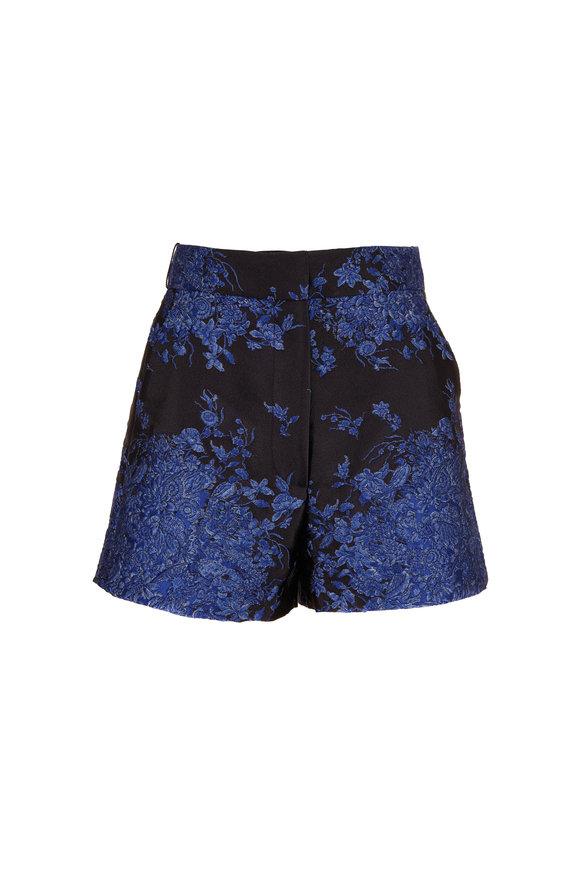 Valentino Black & Blue Brocade Shorts