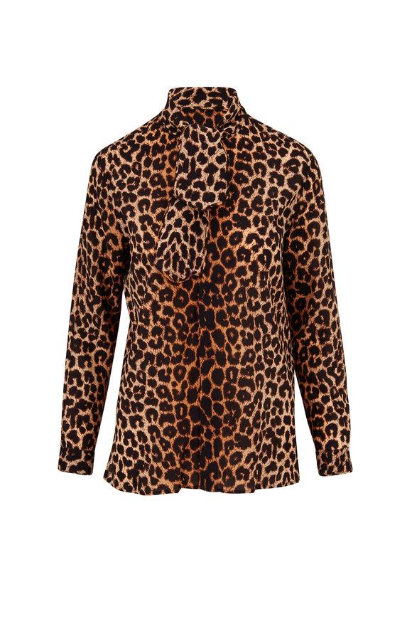 Saint Laurent Leopard Print Silk Button Down Blouse