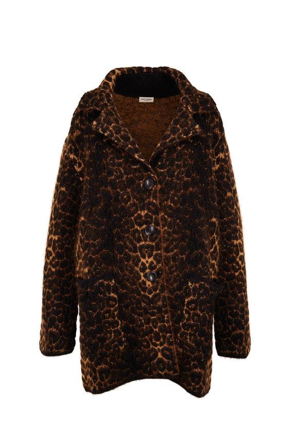 Saint Laurent Leopard Jacquard Front Button Sweater Jacket