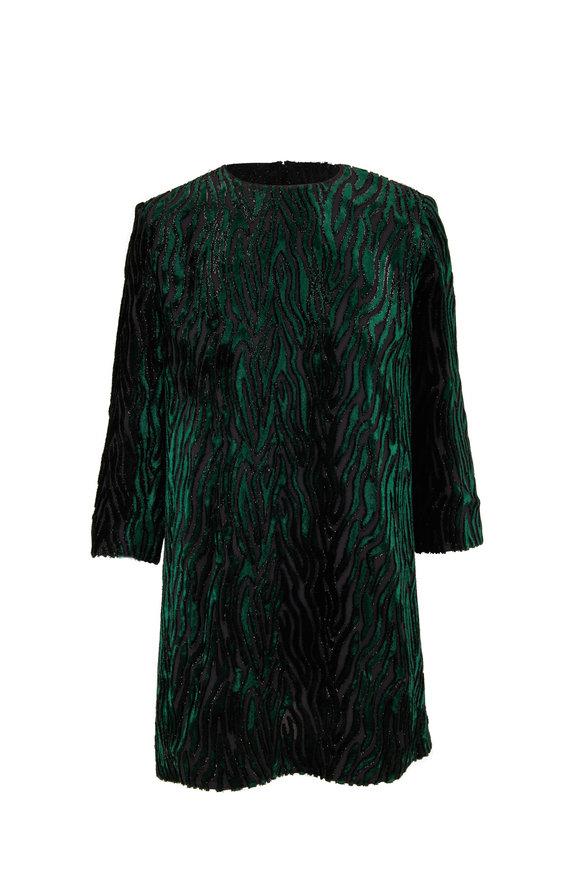 Saint Laurent Black and Green Leo Velour Mini Dress