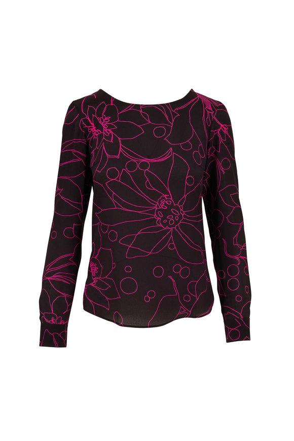 Akris Punto Black & Neon Pink Floral Print Silk Blouse