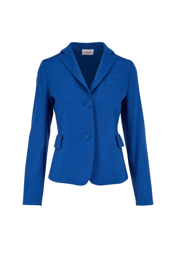 Akris Punto Japan Blue Wool & Cashmere Crop Jacket