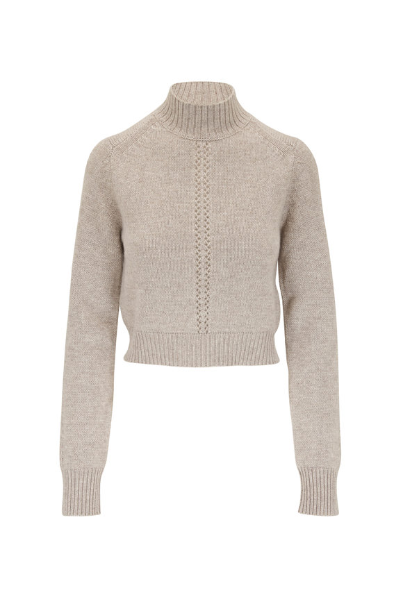 Le Kasha Milano Light Brown Cashmere Mockneck Sweater