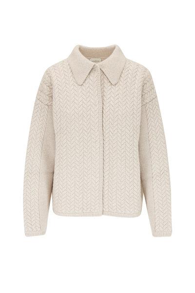 Le Kasha - Bilbao Light Brown Cashmere Braid Knit Cardigan