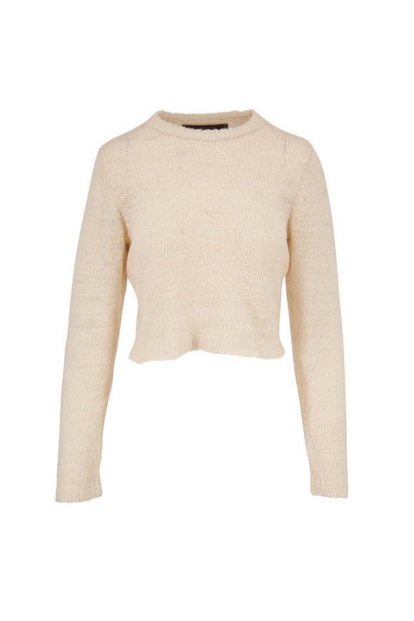 The Elder Statesman Picasso White Handspun Cashmere Crop Sweater