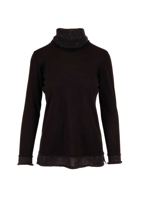 Rani Arabella Black Wool & Cashmere Paillette Trim Sweater