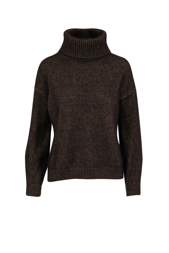 Rani Arabella Black Cashmere & Gold Foil Turtleneck