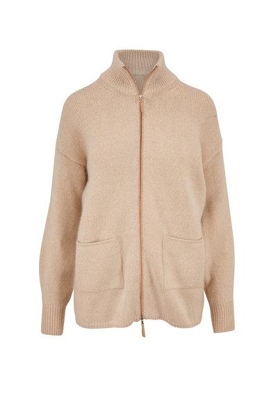 Rani Arabella - Sand Lurex Cashmere Front Zip Cardigan