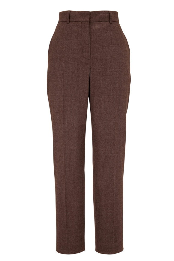 Akris Flavin Taupe Stretch Wool Flannel Pant