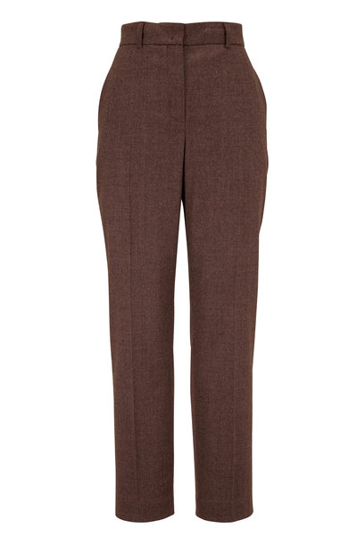 Akris - Flavin Taupe Stretch Wool Flannel Pant