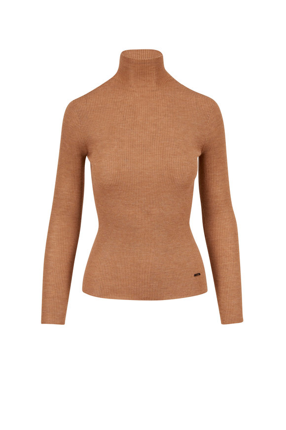 Akris Camel Cashmere & Silk Ribbed Mock Neck Top