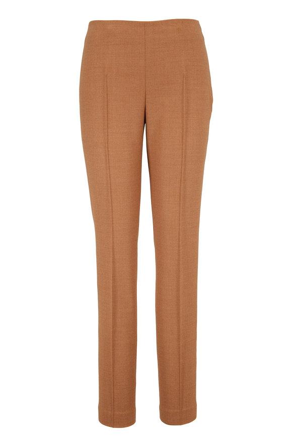 Akris Melissa Camel Wool Flannel Slim Fit Pant